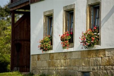 Blumenkästen am Bauernhaus